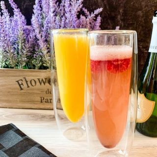 Mimosas, Raspberry Kir Royale https://thefinisheddish.com/2020/02/10/mimosas/