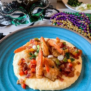 Shrimp and Cheesy Grits. https://thefinisheddish.com/2020/02/22/shrimp-and-cheesy-grits/. #imsomartha  #instagram #food #recipes #seafood #southernfood #mardigrasfood #foodblogger