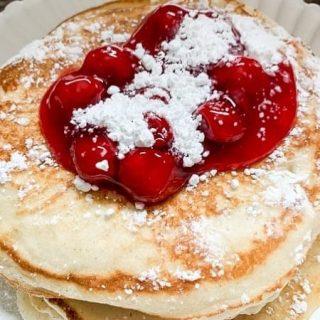 Almond Cherry Pancakes!  #breakfast #pancakes #brunch